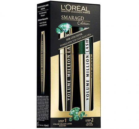 Set Cadou L'Oreal Million Lashes Smaragd Edition Mascara Set, 2 x 9 ml