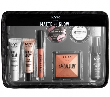 Set Cadou NYX Professional Makeup Jet Set Travel Kit - Matte VS Glow, 7 Produse