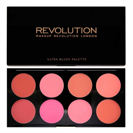 Trusa cu 8 Blushuri Cremoase MAKEUP REVOLUTION Ultra Professional Blush Palette, All About Cream, 13g