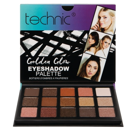 Paleta 15 Farduri Technic The Maine Edition, Golden Glow Eyeshadow Palette